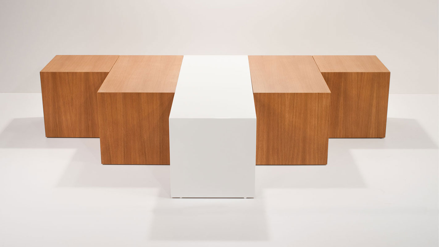blox coffee table white and natural oak