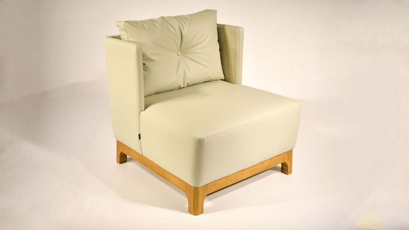 caramel armchair wood and eco-leather