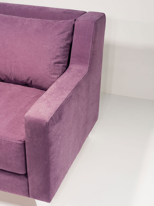 confee purple upholstered armchair with white oak legs
