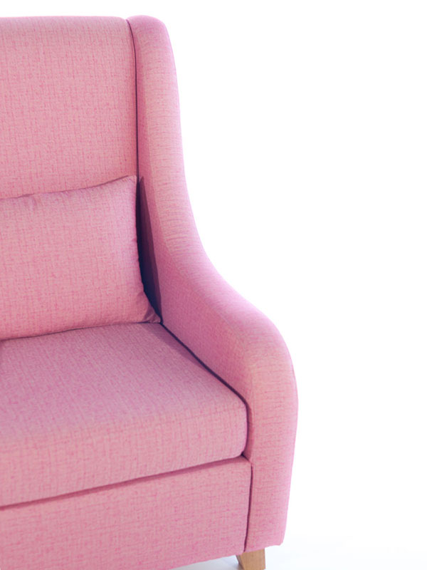 curve armchair pink upholstered with oak legs