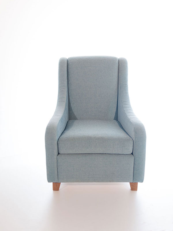 curve armchair blue upholstered with oak legs