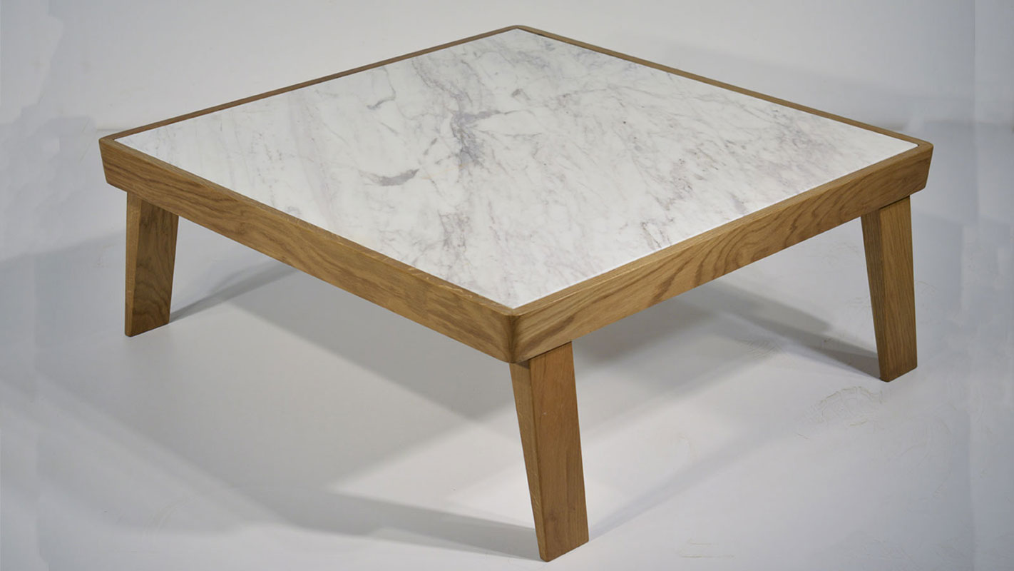 dida coffee table with oak frame and marble top