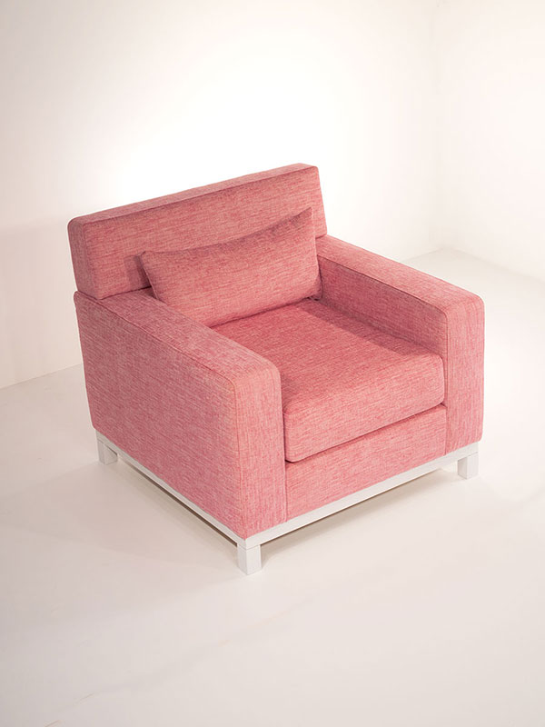 fluffy armchair pink fabric