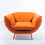 leaf armchair orange upholstered with oak legs