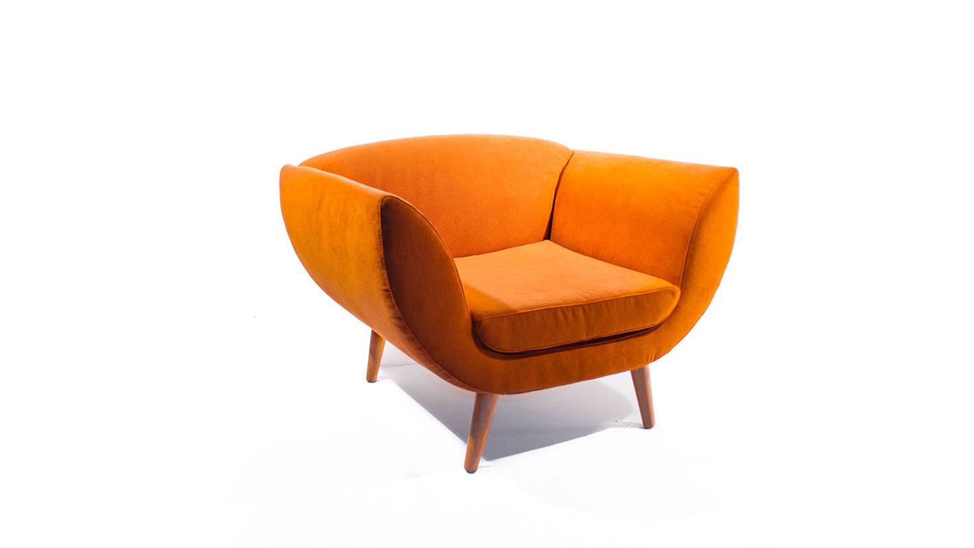 leaf armchair orange upholstered with oak legs