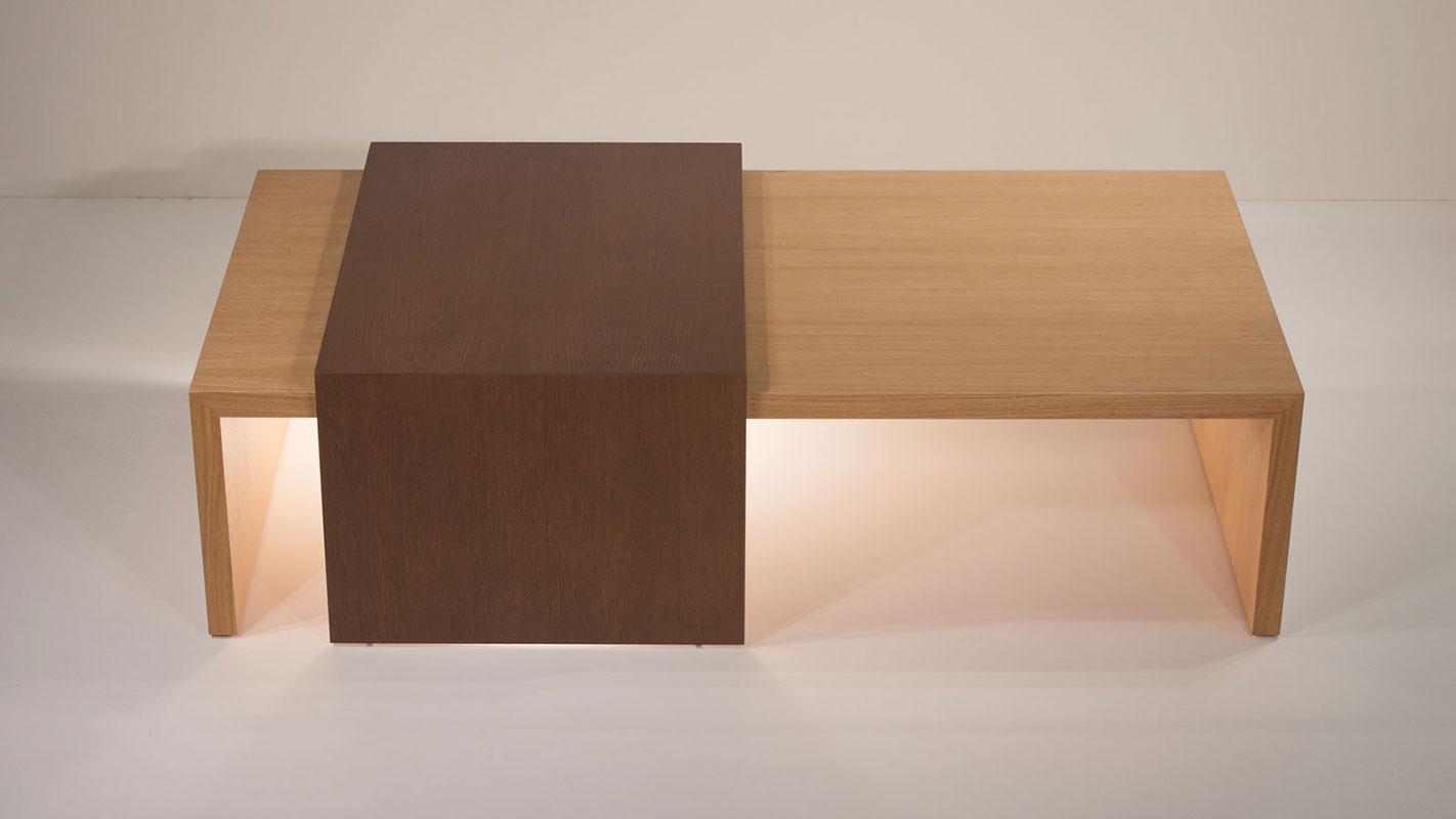 level oak coffee table