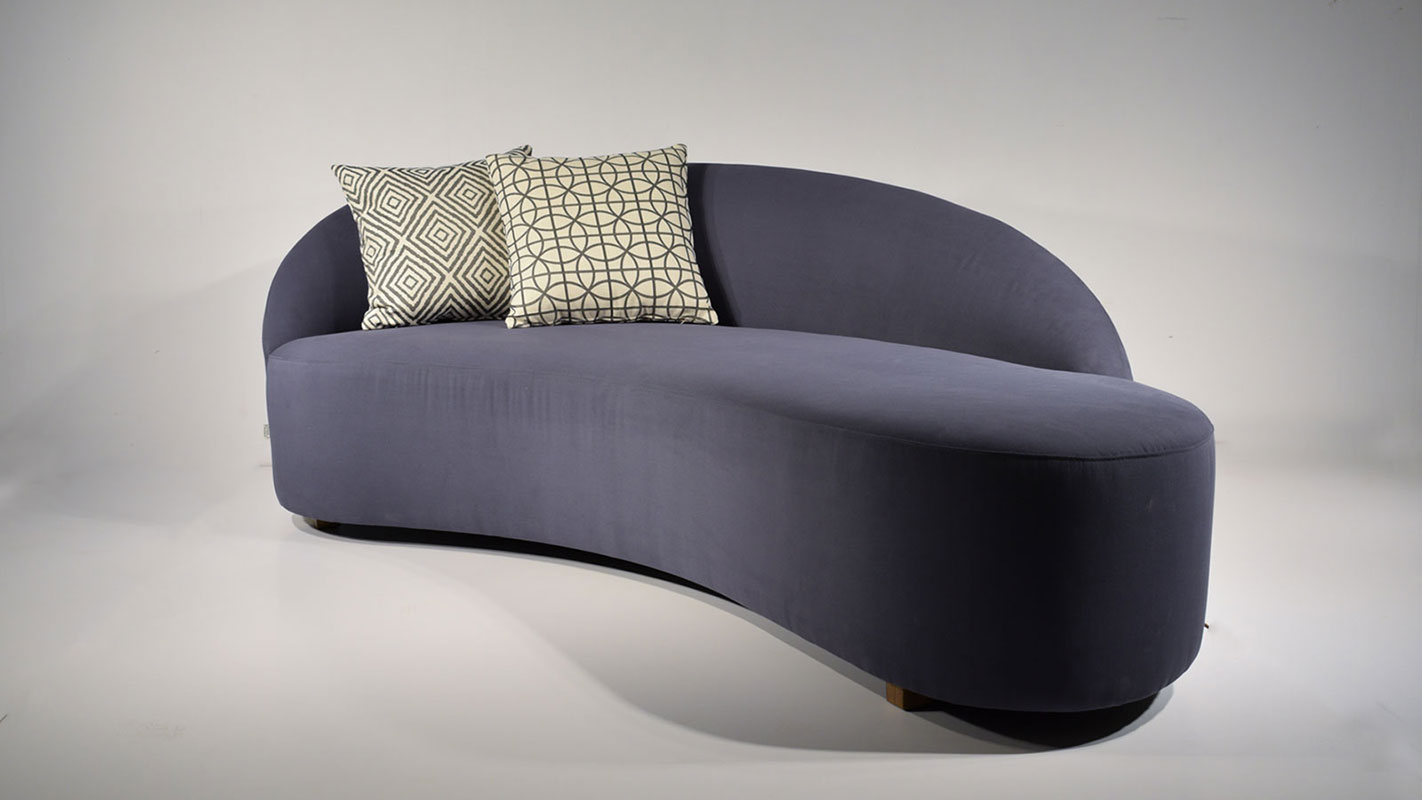 luma blue upholstered sofa