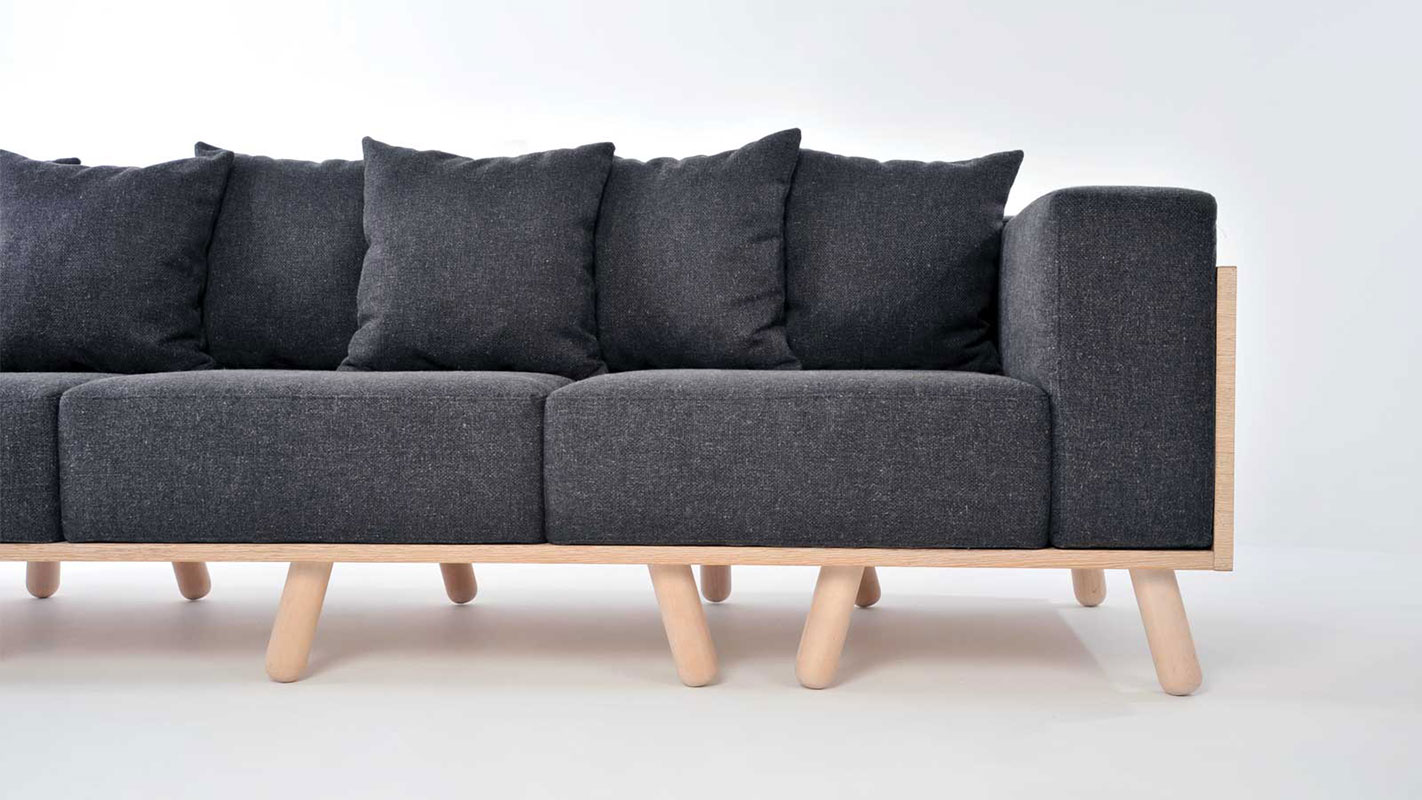 many legs sofa with oak frame - sotiris lazou design
