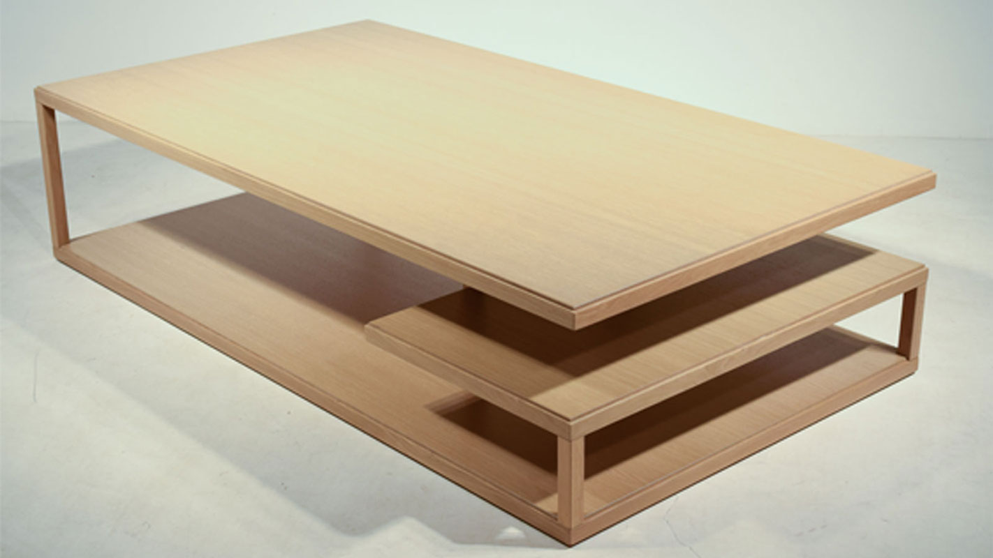 meandro long oak coffee table