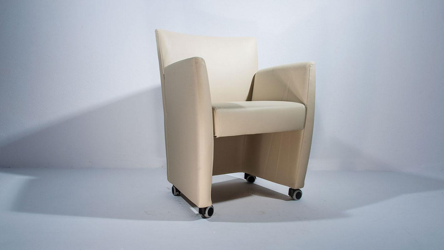 nice armchair white eco-leather