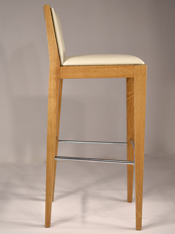 quod barstool upholstered with eco-leather with oak frame and metallic details