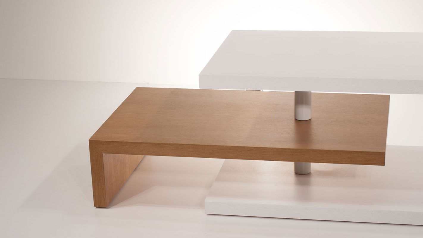 raily rotatable oak coffee table