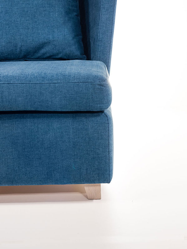 throne armchair blue upholstered with oak legs
