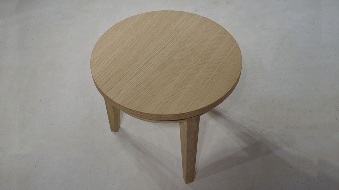 tripod rounded oak coffee table