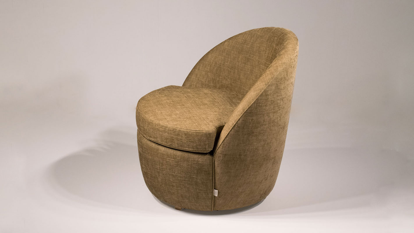 tulip armchair brown fabric