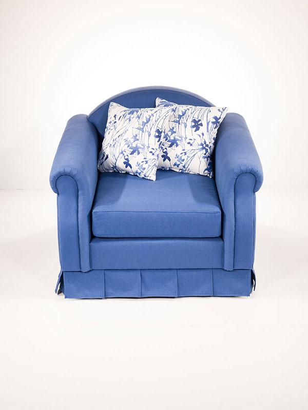vintage blue upholstered armchair