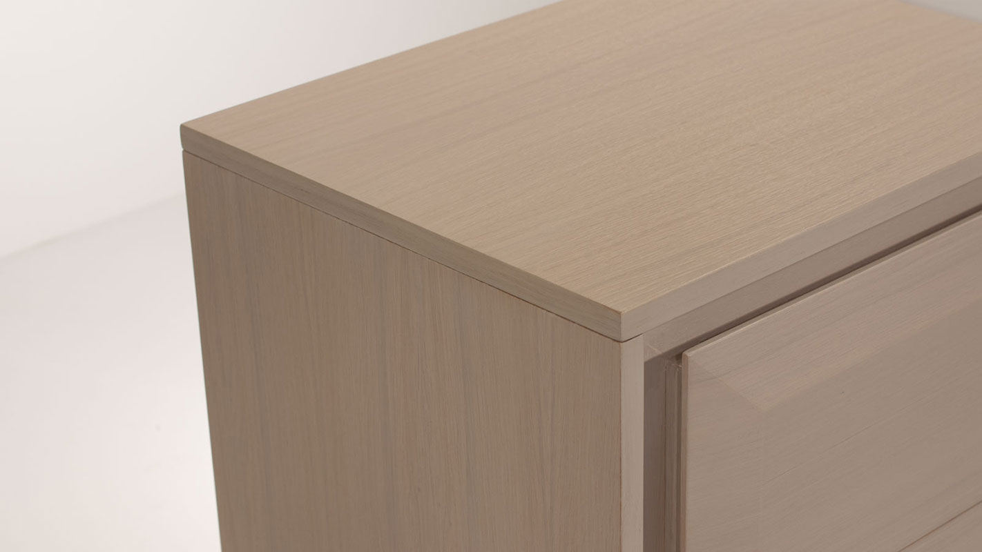bevel nightstand with two drawers - soft closing mechanism