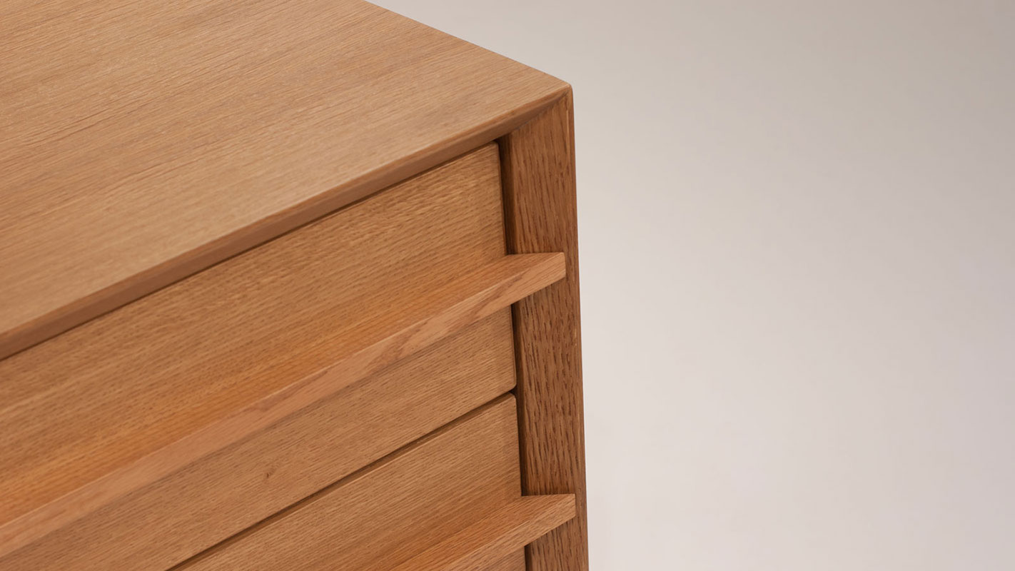 bridge nightstand with two drawers - soft closing mechanism