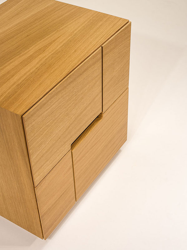 corner nightstand with two drawers - soft closing mechanism