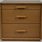 cornis nightstand with three drawers - soft closing mechanism