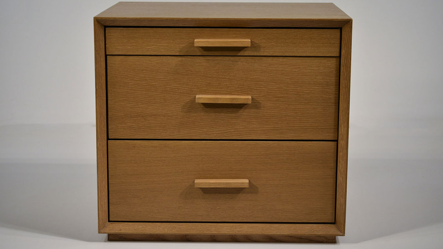 cornis nightstand with three drawers - soft closing mechanism