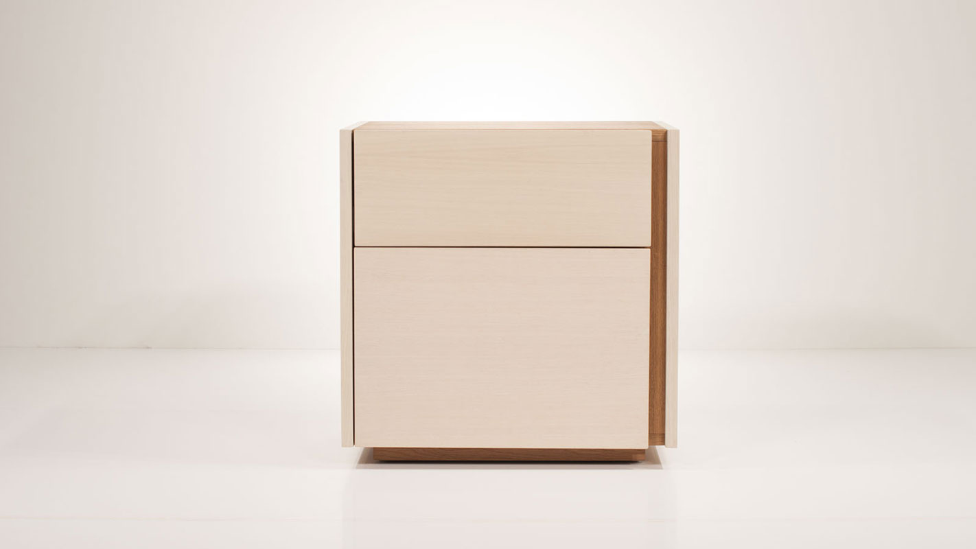 cranny nightstand with two drawers - soft closing mechanism
