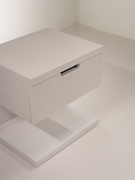 float nightstand with one drawer - soft closing mechanism