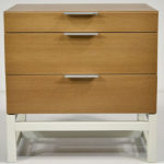 rod nightstand with three drawers - soft closing mechanism