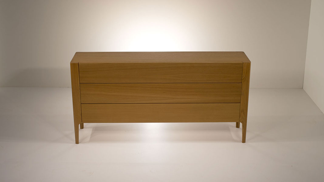 round sideboard made of fine oak wood