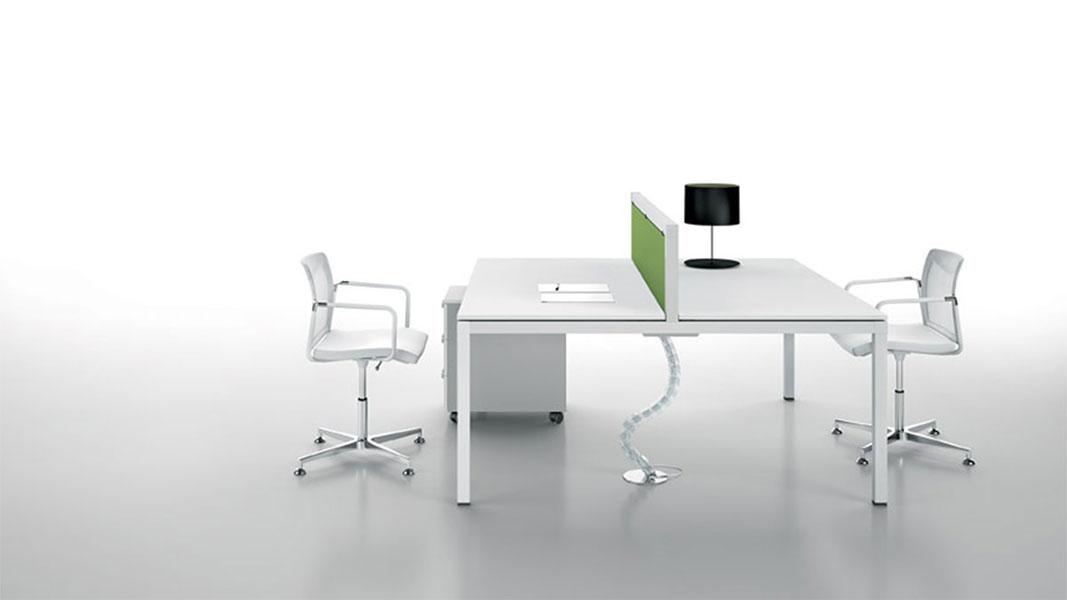 linear desk with metal legs