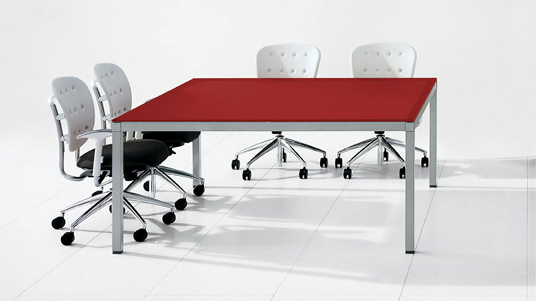 linear conference table with metal legs