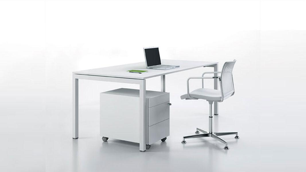 linear lite desk with metal legs