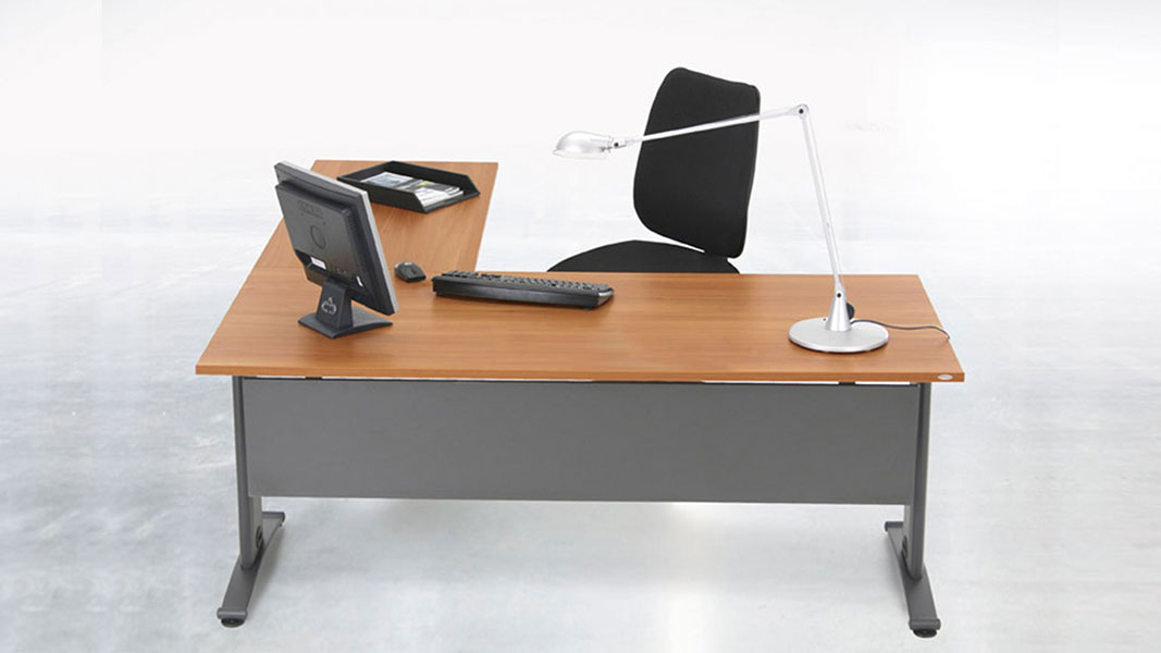 modern T desk with metal legs