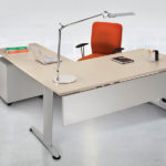 modern T desk with metal legs